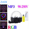 RGB MP3 Magic Crystal Ball LED Music stage light 18W Home Party disco DJ party Stage Lights lighting + U Disk Remote Control