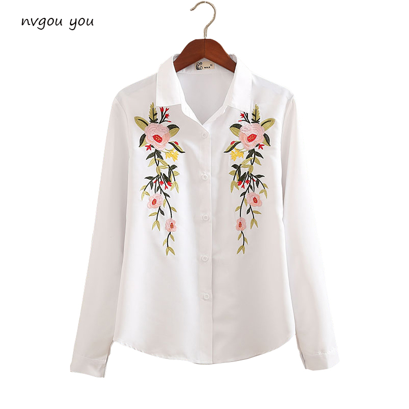 Floral Embroidered Blouse Shirt Women Slim White Tops Long Sleeve