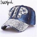КРЫШКА Оптовая 2016 Hat Горный Хрусталь Печати Джинсовой шляпа Заклепки Солнце Затенение VIP Бейсбол Летом женские Cap Jean Caps хип-хоп