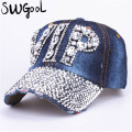 CAP Wholesale 2016 Hat Rhinestone Print Denim hat Rivet Sun-Shading VIP Baseball Summer Women's Cap Jean Caps hip hop