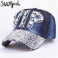CAP Wholesale 2016 Hat Rhinestone Print Denim hat Rivet Sun-Shading VIP Baseball Summer Women's Cap Jean Caps hip hop