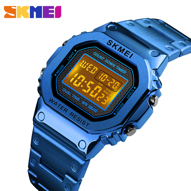 SKMEI 2019G-Digital do Estilo dos homens NOVOS relógios de Pulso Das Mulheres Relógios de Luxo Em Aço Inoxidável Quadrado Eletrônico Choque LEVOU Sprots relógio