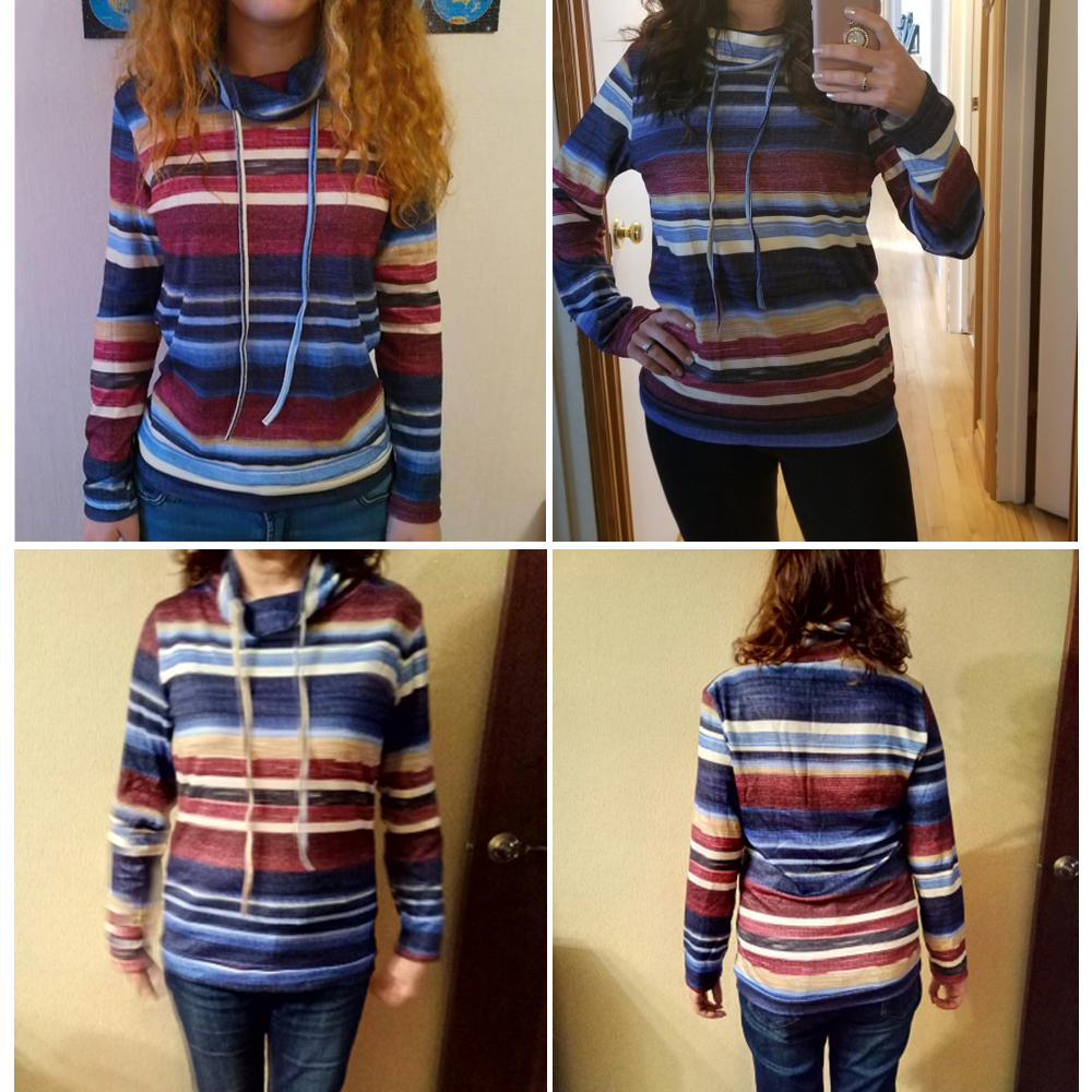 Arrival Loose Striped Sweater Women Turtleneck Long Sleeve Pocket Tops Pullover Plus Size Casual Harajuku Straight Autumn Winter
