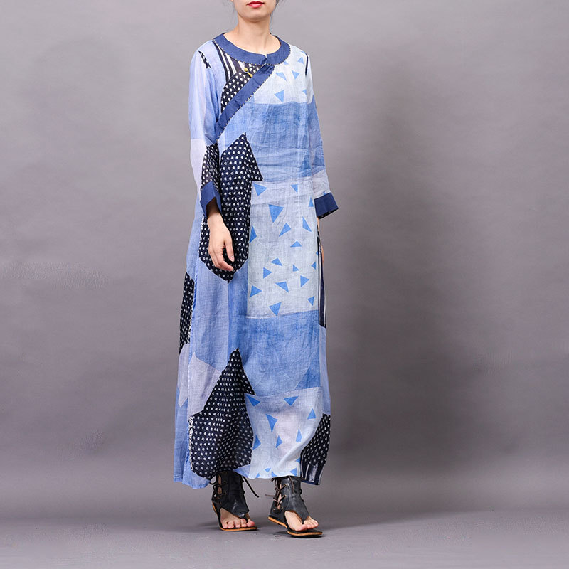 Ramie Women dress Summer cool New arrival Printed Buckle Embroidered speclic button personality vintage elelgant large size Robe - 4