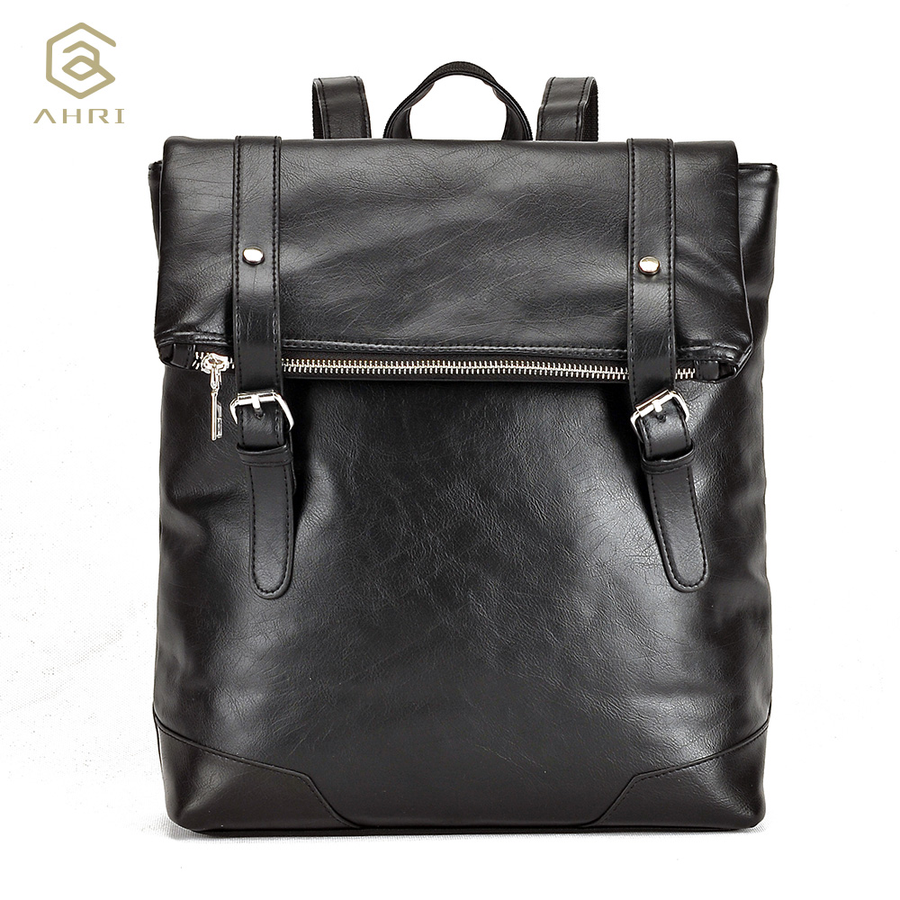 ФОТО AHRI HOT sales Fashion Men Business Boys School European and American PU Leather Men's Shoulder Bags Vintage Backpacks for men