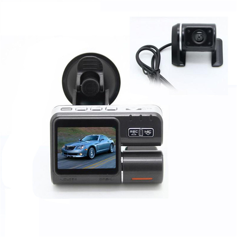 Dual Lens Car DVR Camera I1000S Full HD 1080P 2.0LCD Dash Cam+Rear View Camera+8 IR Led Light Night Vision H.264 Video Recorder dual lens car dvr g30b front camera full hd 1080p external rear camera 720 480p h 264 g sensor dash cam two cameras