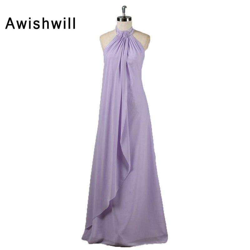 Mode licou sans manches perles en mousseline de soie femmes enceintes robe de soirée conception Simple pas cher longue robe de soirée robes formelles