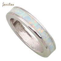 New 2015 Fashion Jewelry Round Tension Setting Rings For Women White Opal 925 Sterling Silver Rings