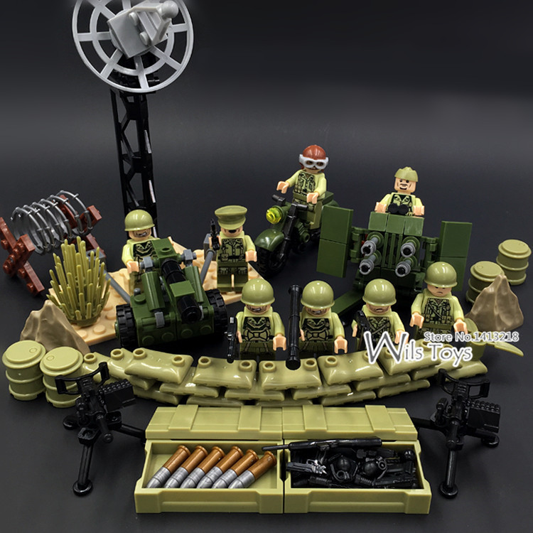 где купить 4 in 1 US Army World War 2 Military SWAT Soldier Weapon Gun Navy Seals Team Building Blocks Bricks Figures Boy Toy Gift Children по лучшей цене