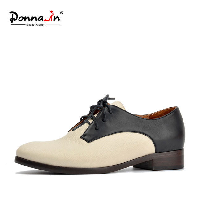 DONNA-IN 2018 spring new collections genuine leather women shoes lace-up low heel hit color spring ladies shoes