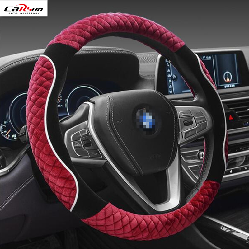 CARSUN Winter 38cm Plush Steering Wheel Cover Winter Warm Skid Shock Universal Steering Wheel Cover Protector Cover