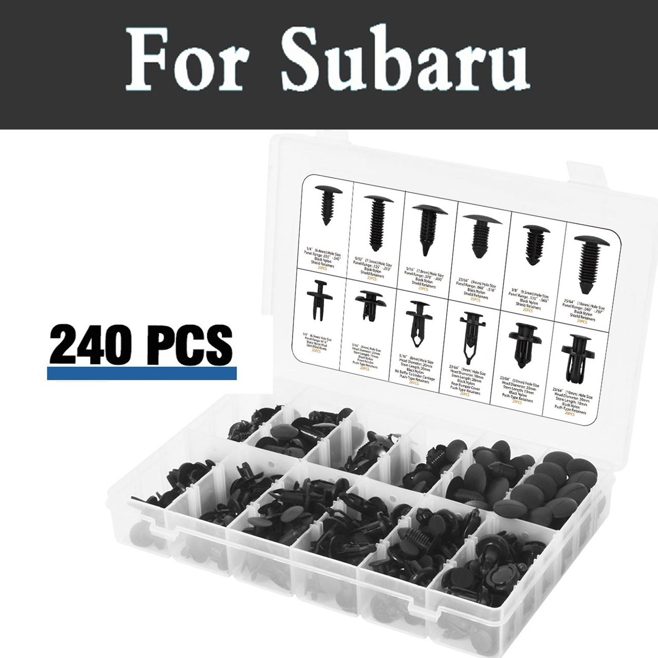 240pcs Plastic Car Retainers Trim Mud Guard Trim Push Car Rivets For Subaru Alcyone Brz Dex Forester Impreza Wrx Sti Justy for subaru xv 09 13 forester 10 wrx sti balancing rod ball joint