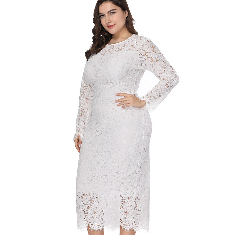 Miaoke Plus Size Long Sleeve Midi Lace Dress Women Clothing 2018 High  Quality Fashion Sexy Club Party Elegant Dresses 4XL 5XL 6X-in Dresses from  Women s ... 6fc9441cfbe2