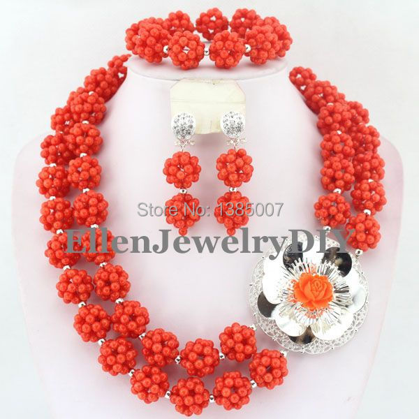 Orange African Coral Jewelry Set Coral Beads Necklace Set Nigerian African Wedding Beads Jewelry Set W7381 marvelous orange african coral beads jewelry set nigerian wedding african beads necklace set 2016 new free shipping cj461