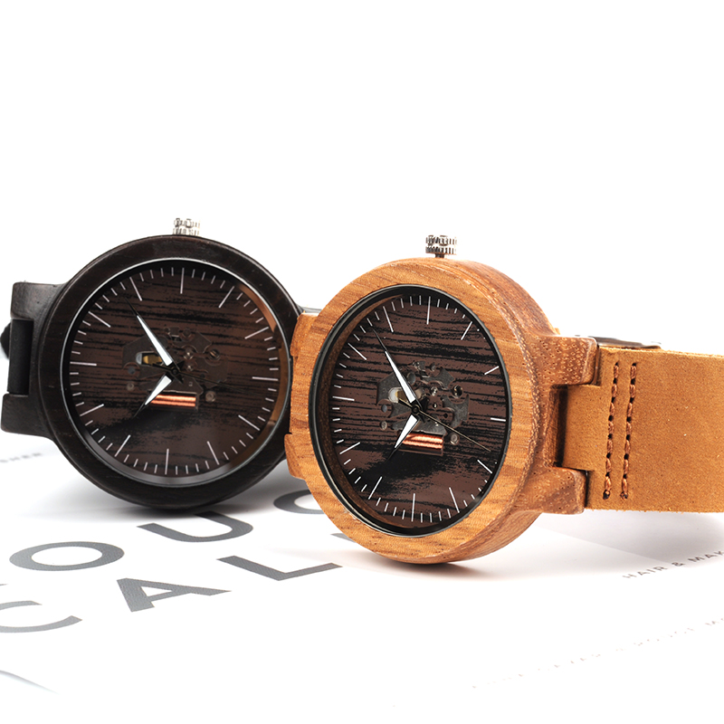 BOBO BIRD LH29 Mens Watches Top Brand Exposed Movement Japanese Quartz Wristwatch with Soft Leather Band Accept OEM bobo bird mens wood bamboo watches casual dress watches japanese movement quartz wristwatch with real leather strap as gift