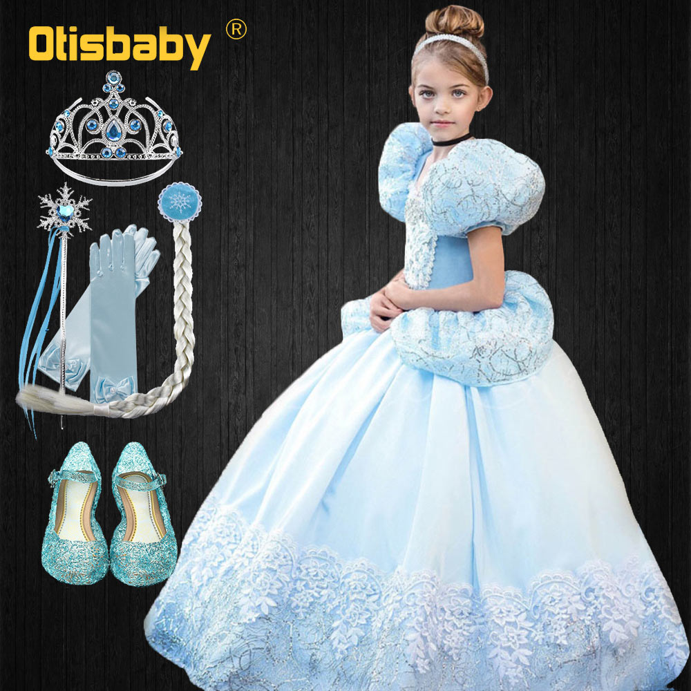 New Disguise Girl Cinderella Princess Dress Big Puff Sleeve Tutu Girls Halloween Costume Fairy Light Blue Frock for