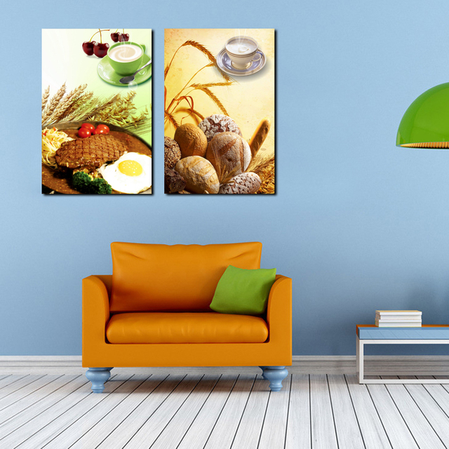 Large Canvas Picture Home Decor Kitchen Wall Decor Food Painting Printings  Bread Steak Modern Art Poster