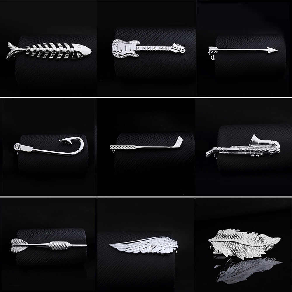 1pc Men Tie Clip Fish Bone Leaf Guitar Feather Saxophone Multiple Styles Silver Tone Metal Tie Clip Tie Bar Necktie Clips Gifts