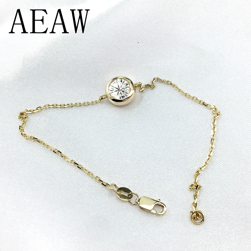 Solid 14K 585 Yellow Gold 1 Carats ct F Color Moissanite Diamond Bezel Bracelet For Women Test Positive helon solid 18k 750 rose gold 0 1ct f color lab grown moissanite diamond bracelet test positive for women trendy style jewelry