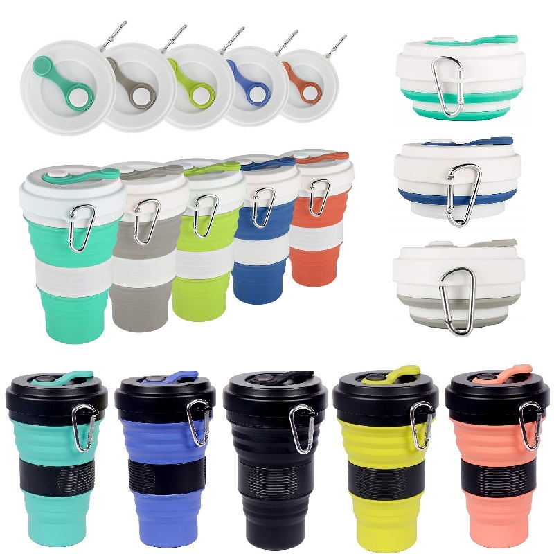 2Pcs Multicolor Silicone Collapsible Cup with Lid Floding Travel Water Drinking Bottle Lightweight Travel Cup Mug CampingHiking image