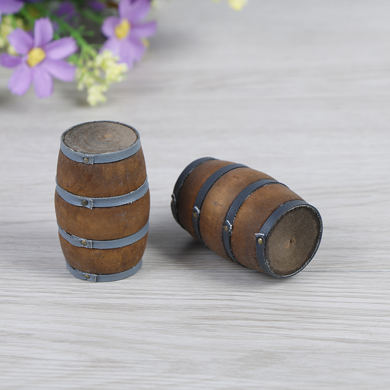 Wooden Handcrafted 1//12th Scale 5 Miniature Small Barrels//Kegs
