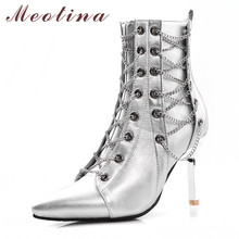 Meotina Women Boots Autumn Ankle Chain Cross-tied Thin Heels Short Zip Extreme High Heel Shoes Lady Winter Size 3-12