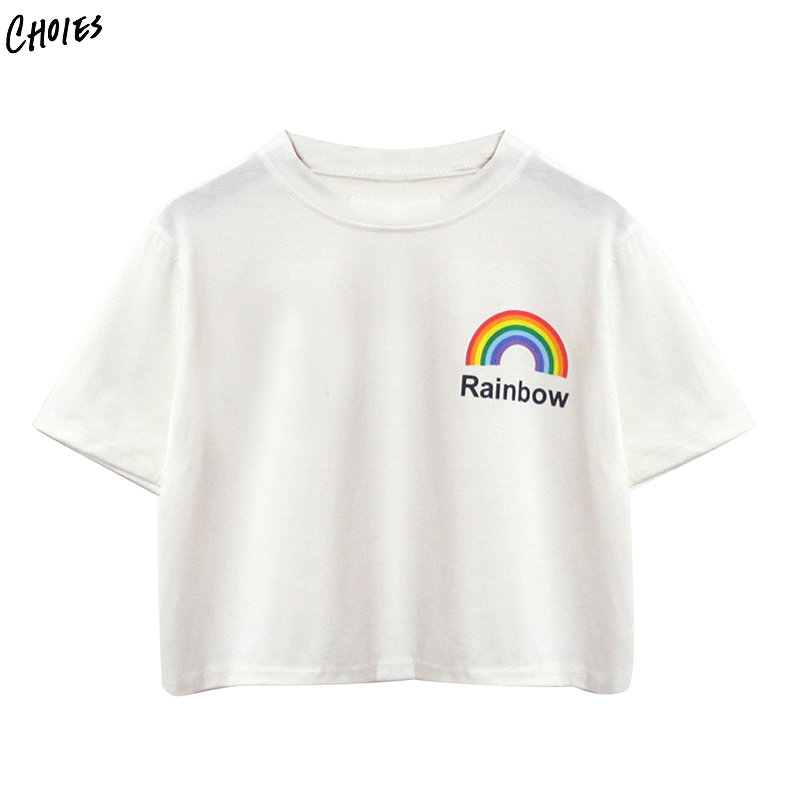 2018 New Female T-Shirt White Crew Neck Rainbow Print Cropped T-shirt For Women Summer Casual Loose Tees Tops Plus Size XL