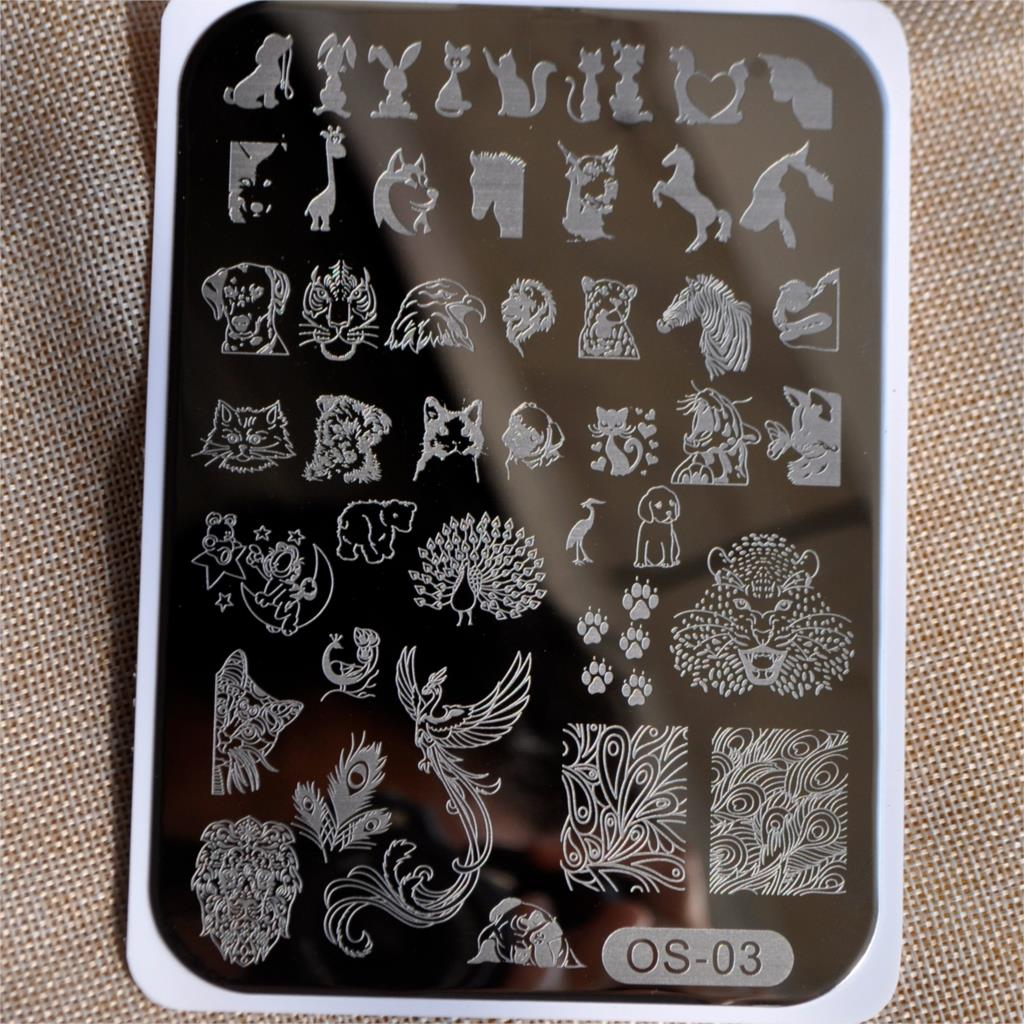 1PC Phoenix Lion Tiger Nail Stamp Template Horse Animal Stainless ...
