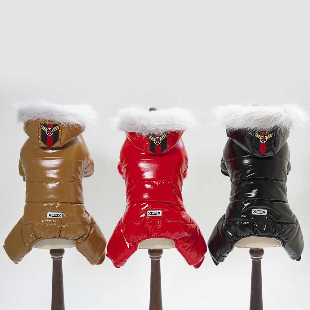 개를위한 방수 따뜻한 겨울 작업복 치와와 요크셔 테리어 강아지 작은 애완견 개 옷 점프 슈트 파커 다운 코트 2019
