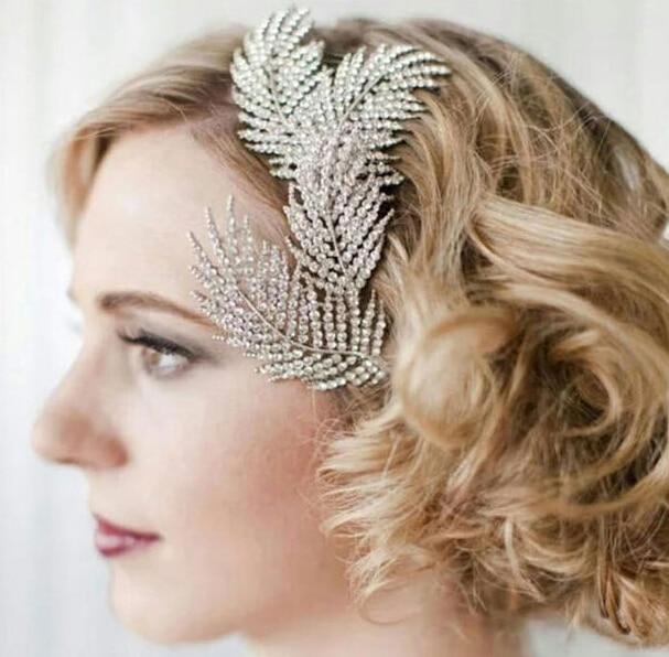 New Fashion Wedding Jewelry Full of Austrian Crystal Feather Hair