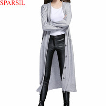 Sparsil Women's Cashmere Long Cardigan Full Sleeve Single Breasted Knitted Sweaters Slim Elegant Wool Cardigans With Pockets B11