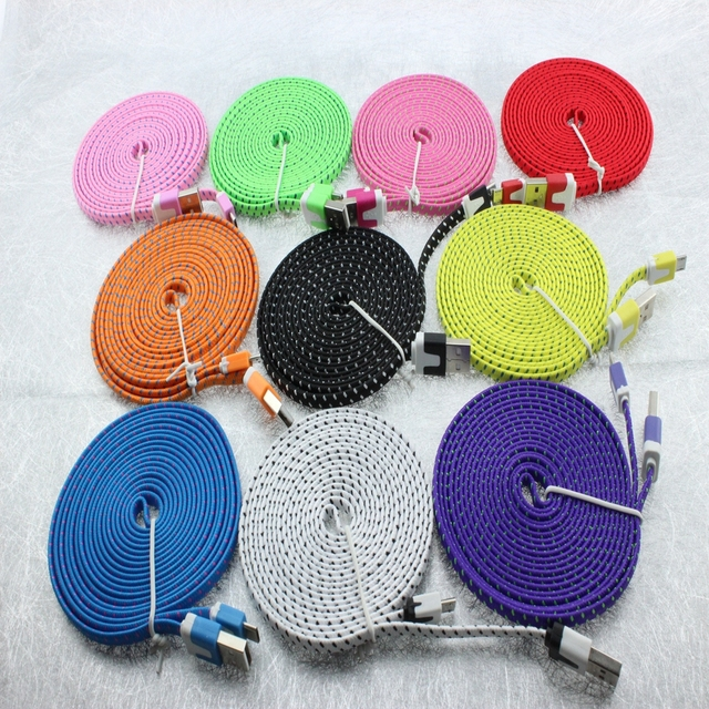 100pcs/Lot 3M 10ft Durable Braided Fabric Micro USB 2.0 Data Charger Cable For Samsung for LG for HTC