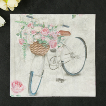 Vintage 20 servilletas papel toalla impresa Rosa flor bicicleta decoupage en tela café decoración del banquete de boda servilleta de cena