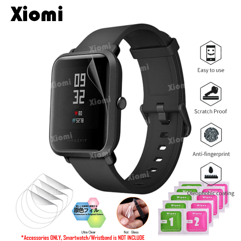 10Pcs/Lot(5Films+5Wipes) For Smart Watch Xiaomi Huami Amazfit Bip BIT PACE Lite Full Screen Protector Cover Soft TPU Film Guard baroque
