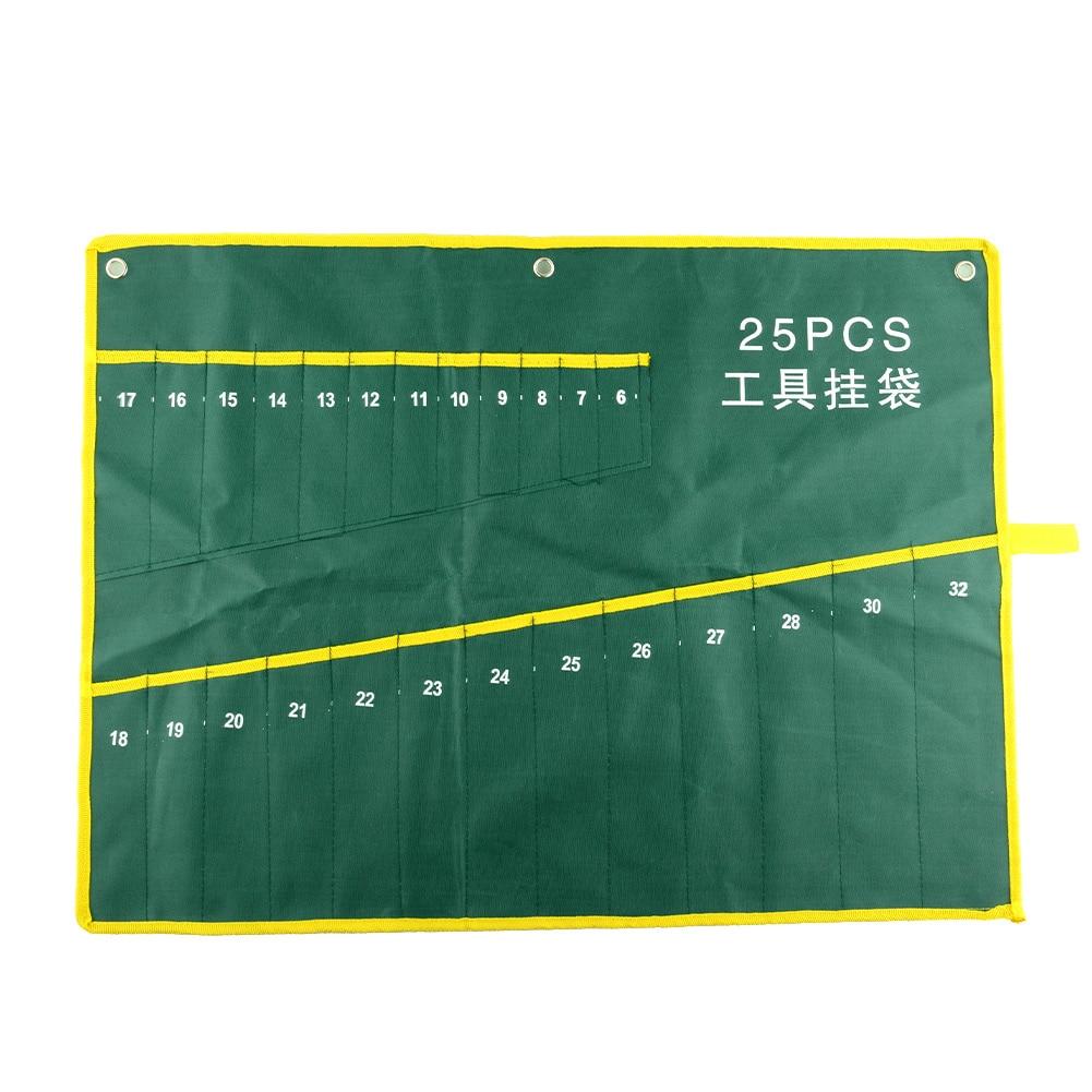 Home Durable 25 Pocket Grids Canvas Spanner Plier Wrench Tools Bag Case Fold Up Holder Rolling Suite
