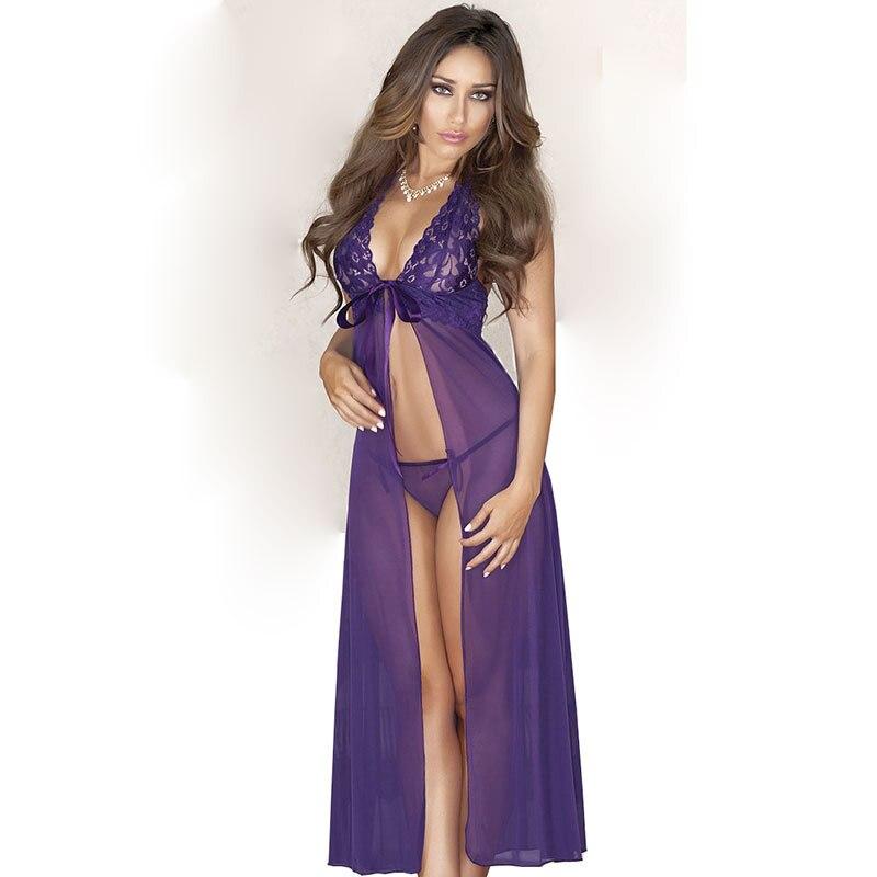 NºEncaje noche g-string set pierna de noche camisón largo vestido ...