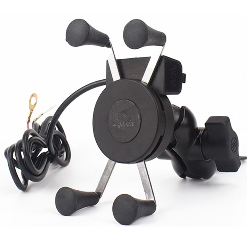 Bike Grip Motorcycle Car Mount Cellphone Holder USB Charger For Mobile Phone Drop Ship