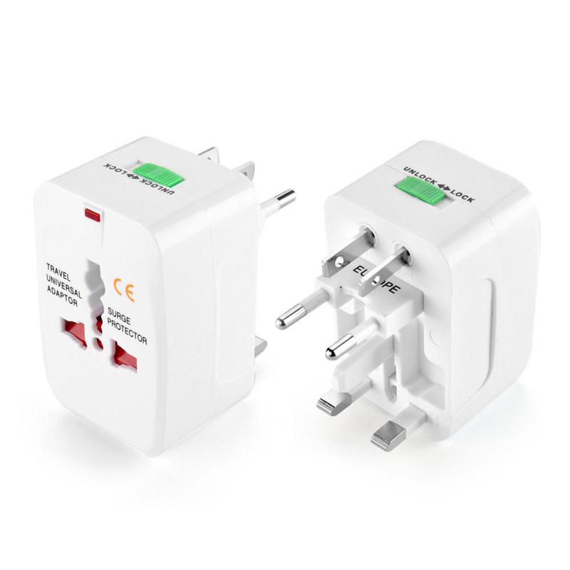 New Hot UK EU AU US Plug Adjustable Universal AC Power Adaptor Converter Sockets World Travel Durable White 7.5 * 5 * 4cm