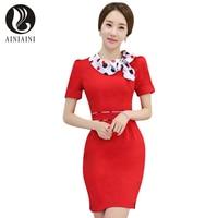 Novelty Bow Neck Stewardess Uniform Fashion Summer Style Slim Waist Professional Women Work Dress Elegant Vestido Dresses VN78