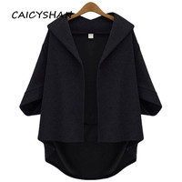 New Autumn Women Coats Plus Size Fashion Casual Loose Solid Three Quarter Hooded Woolen Blend Coat For Women Large Outerwear 5XL