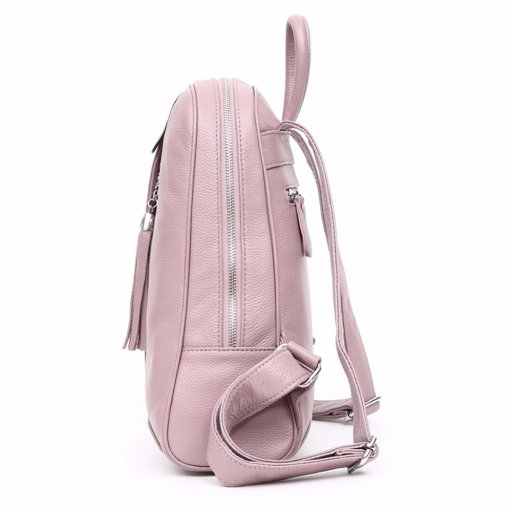 AODUX 100 Genuine Leather Women 39 s Backpack Top Layer Cow Leather School Backpacks Bag Light Blue Gray Pink White Beige Color in Backpacks from Luggage amp Bags