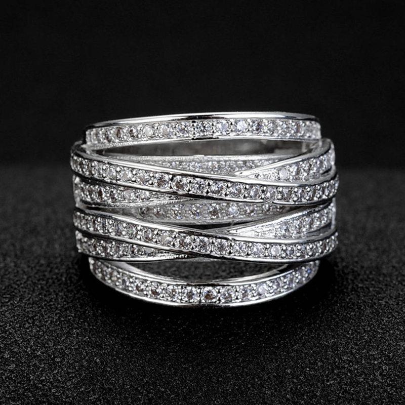 Изысканные циркониевые геометрические кольца для женщин, свадебные ювелирные изделия на День святого Валентина, подарки, Прямая поставка