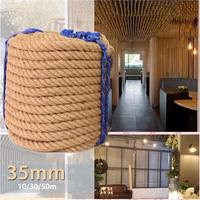 35mm Jute Ropes Twine Rope String Natural Hemp Linen Cord Home gardening Yard Art Decor DIY Handmade Decoration 10/30/50m