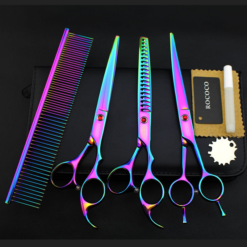 Professional Rainbow 7 inch Dog Pet Grooming Scissors Pets Shears Set Cutting+Curved+Thinning+Steel Comb+Case/Grooming ToolProfessional Rainbow 7 inch Dog Pet Grooming Scissors Pets Shears Set Cutting+Curved+Thinning+Steel Comb+Case/Grooming Tool