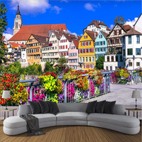 Custom Wall Murals Scenery German Town 3d Wall Paper Embossed Non Woven Waterproof Wall Murals Background Living Room Study