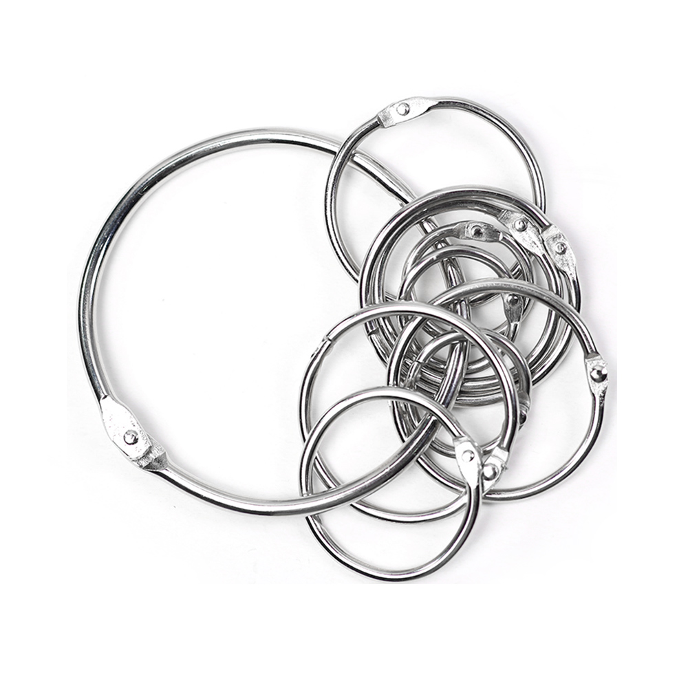 10 pieces lot DIY CARDS Albums binding iron Shifting key chain Opening circle folder Metal rings clip Adjustable circ in Buckles Hooks from Home Garden