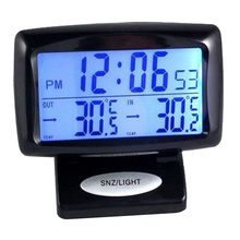 Car Electronic Clock Temperature Meter Auto Indoor And Outdo