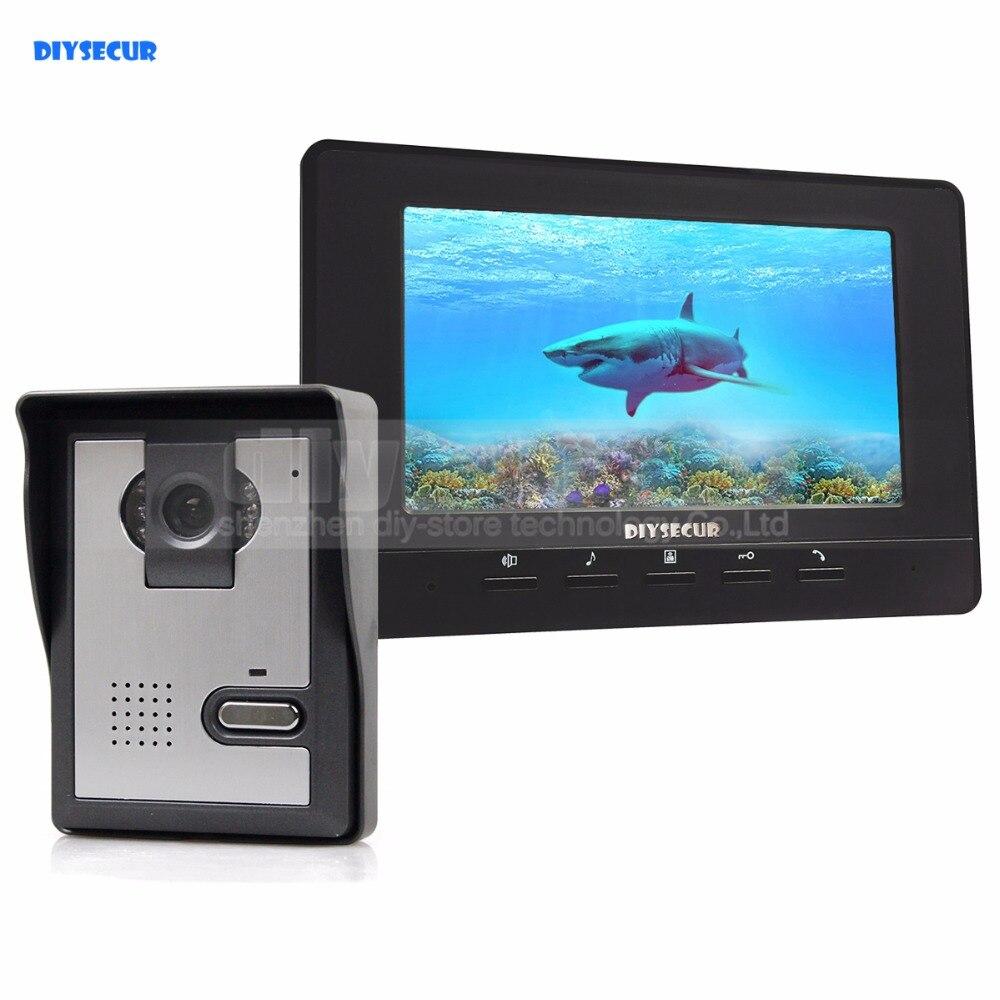 DIYSECUR 7 pouces interphone vidéo porte téléphone sonnette 1 caméra 1 moniteur pour maison/bureau système de sécurité noir