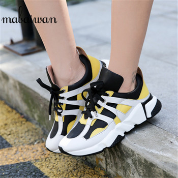 Mabaiwan New Sneakers Women Platform Outdoor Sport Walking Shoes Casual Flats Breathable Genuine Leather Woman Chunky Shoes