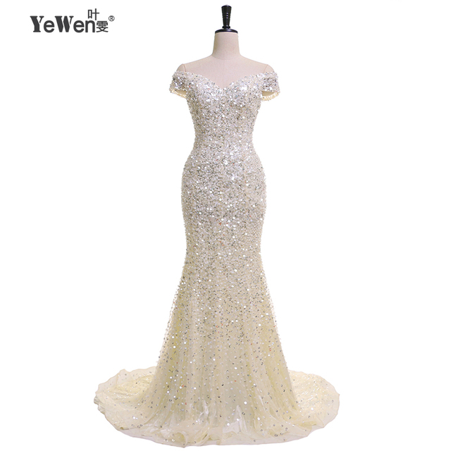 Luxury Rhinestone Mermaid Dubai Long Evening Dresses 2018 Crystal Beaded V  neck Prom Dress Robe De Soiree vestido de festa 44d7fc4ba47e